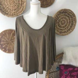 Free People Relaxed Scoop Neck 3/4 Sleeve Tee